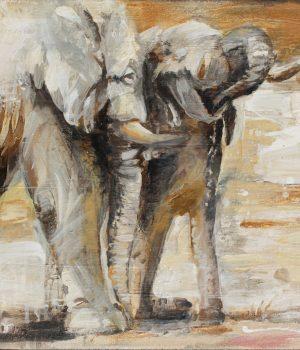 Elefantenbad I Mischtechnik auf Leinwand I 2012 I 60x40 cm (Preis auf Anfrage)