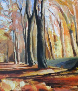 Herbstwald I Mischtechnik auf Leinwand I 2010 I 100x60 cm (Preis auf Anfrage)