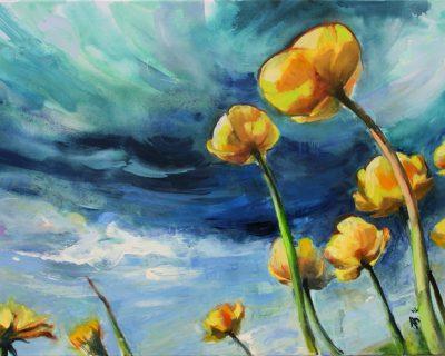 Trollblumen I Acryl auf Leinwand I 2012 I 100x70 cm (Preis auf Anfrage)